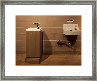 Segregated Water Fountains On Display Framed Print by Everett