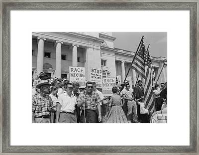 Segregationist Rally In Little Rock Framed Print by Everett