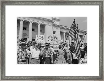 Segregationist Rally In Little Rock Framed Print by Everett