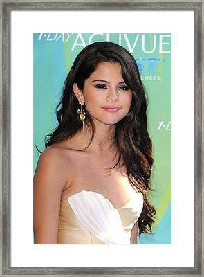 Selena Gomez At Arrivals For 2011 Teen Framed Print