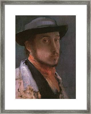 Self-portrait In A Soft Hat Framed Print by Edgar Degas