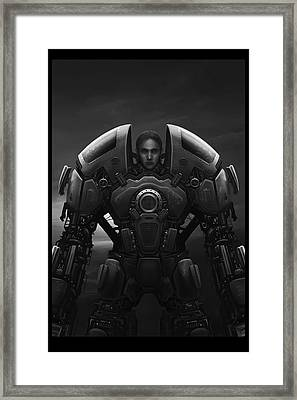 Self Portrait In Grey Framed Print by Martin Bland