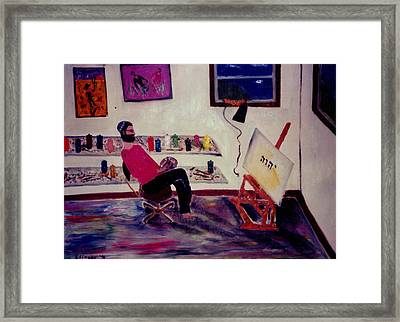 Self-portrait With Divine Name Framed Print by Eliezer Sobel