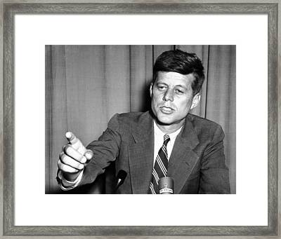 Sen. John Kennedy After Making Framed Print by Everett