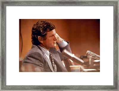 Senator Edward Kennedy D-ma Framed Print by Jan W Faul