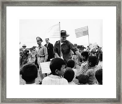 Senator Edward Kennedy, Touring Ban Me Framed Print by Everett