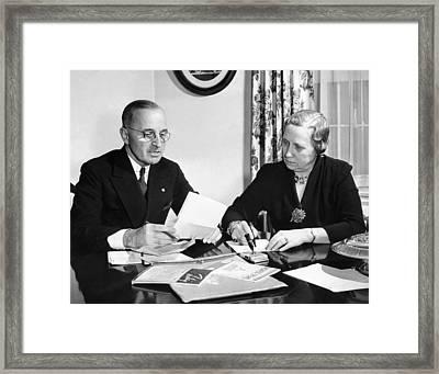 Senator Harry Truman With His Wife Framed Print by Everett