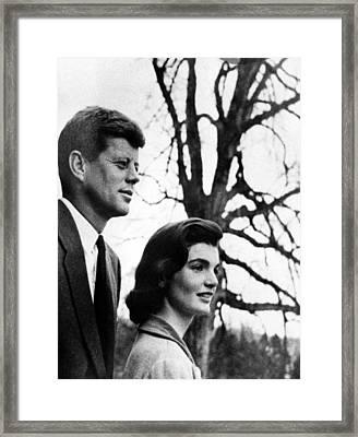 Senator John F. Kennedy, Jackie Framed Print by Everett
