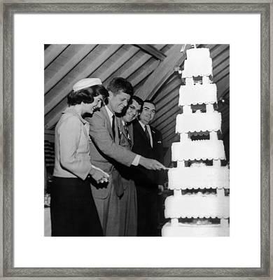 Senator John Kennedy Cutting An Framed Print by Everett
