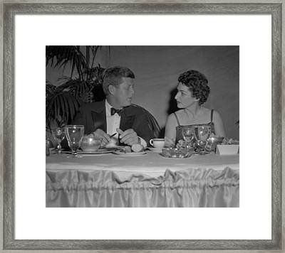 Senator John Kennedy In Conversation Framed Print by Everett