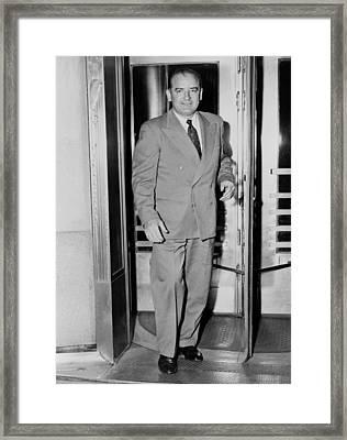Senator Joseph Mccarthy, Leaving Framed Print by Everett