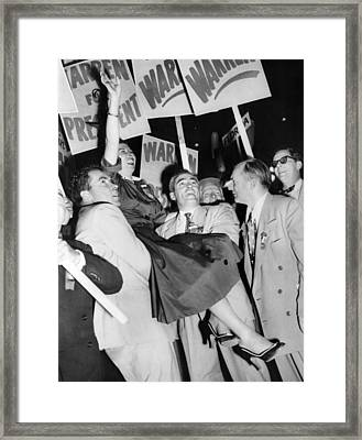 Senator Richard Nixon Enthusiastically Framed Print by Everett