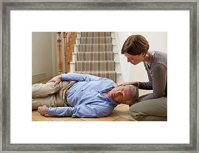 Senior Man Injured In A Fall Framed Print by