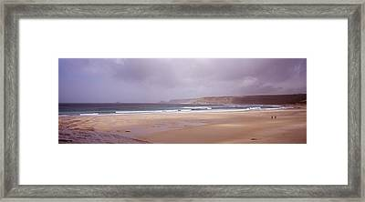 Sennen Cove Beach At Sunset Framed Print by Axiom Photographic