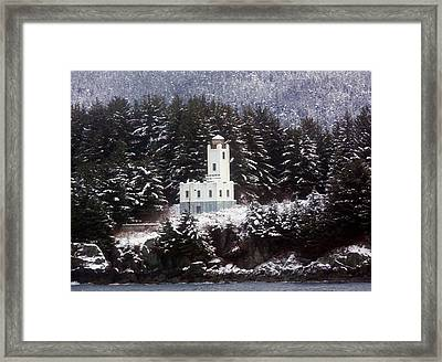 Framed Print featuring the photograph Sentinel Island Lighthouse In The Snow by Myrna Bradshaw