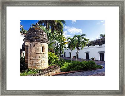 Sentry Post In Casa Blanca Framed Print by George Oze
