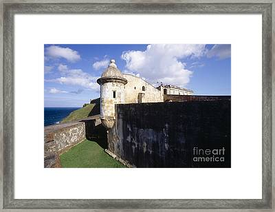 Sentry Post On The Wall In San Cristobal Fort Framed Print by George Oze