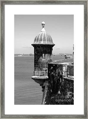 Sentry Tower Castillo San Felipe Del Morro Fortress San Juan Puerto Rico Black And White Framed Print by Shawn O'Brien