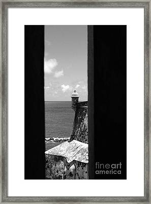 Sentry Tower View Castillo San Felipe Del Morro San Juan Puerto Rico Black And White Framed Print by Shawn O'Brien