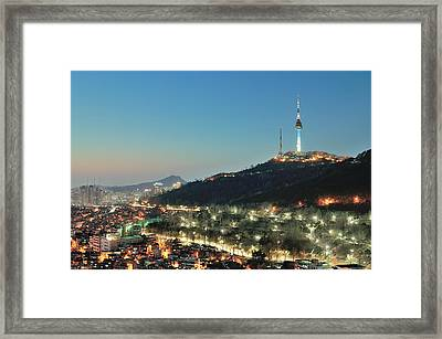 Seoul Tower At Night Framed Print by Tokism