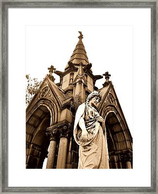 Sepia - Forrest Lawn Cemetery - Buffalo New York Framed Print