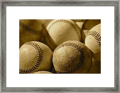 Sepia Baseballs Framed Print by Bill Owen