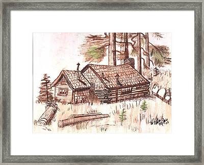 Sepia Cabin In Montana Framed Print by Windy Mountain