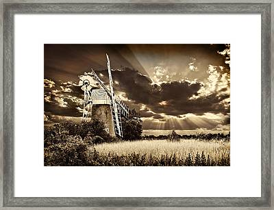 Sepia Sky Windmill Framed Print
