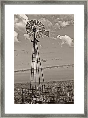 Sepia Windmill And Tank Framed Print by Tony Grider
