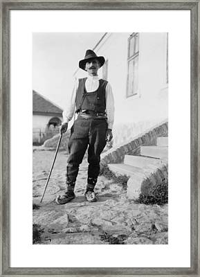 Serbian Man Wearing Hat, Vest, Belted Framed Print