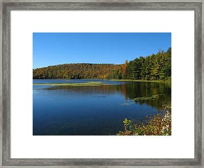 Serene Lake In Fall Framed Print by Leontine Vandermeer
