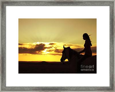 Serenity In Gold Framed Print by Val Armstrong