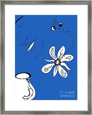 Serenity In Indigo Framed Print by Mary Mikawoz