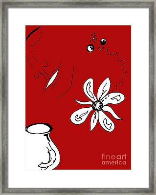 Serenity In Red Framed Print by Mary Mikawoz