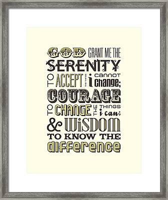 Serenity Prayer Framed Print by Megan Romo