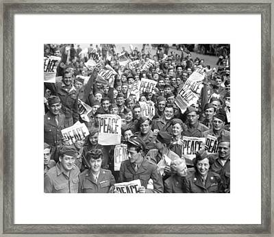 Service Men And Women Send Up Cheers Framed Print by Everett