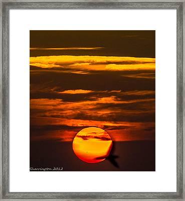 Setting Sun Flyby Framed Print