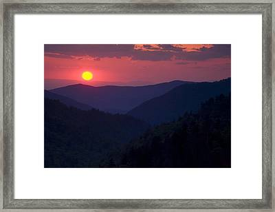 Setting Sun In The Mountains Framed Print
