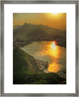 Setting Sun Over Botafogo Framed Print