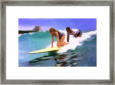 Setting Up The Tandem Framed Print by Ron Regalado