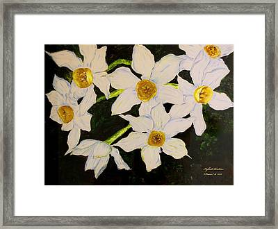 Framed Print featuring the painting Seven Daffodils by Itzhak Richter