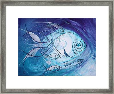 Seven Ichthus And A Heart Framed Print by J Vincent Scarpace