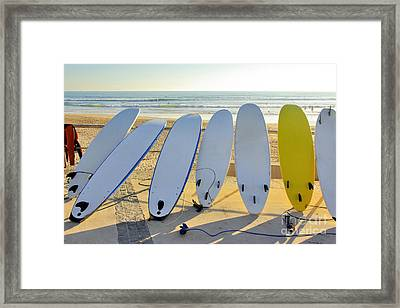 Seven Surfboards Framed Print by Carlos Caetano