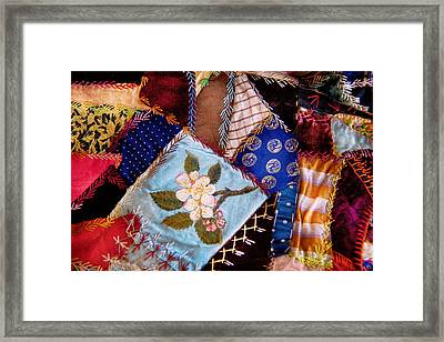 Sewing - Patchwork - Grandma's Quilt  Framed Print by Mike Savad