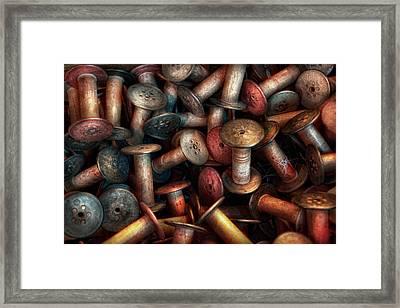 Sewing - Spools  Framed Print by Mike Savad