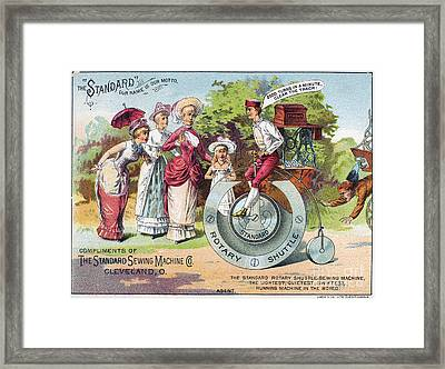 Sewing Machine Trade Card Framed Print by Granger
