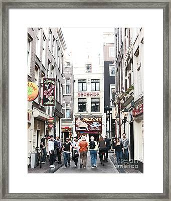 Sex And Coffee Shops In Amsterdam Framed Print by Trude Janssen