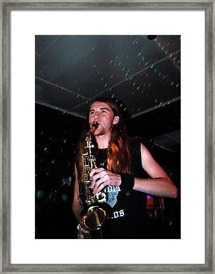 Sexy Sax Man Framed Print by Valerie McDougal