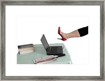 Sexy Woman Kicks A Laptop  Framed Print by Ilan Rosen