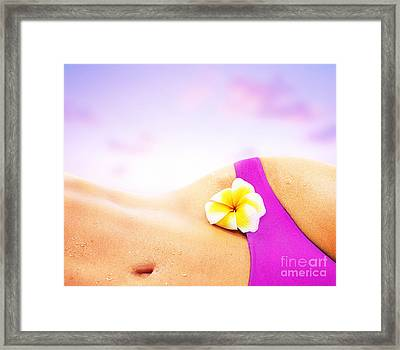 Sexy Woman Over Pink Beach Sunset Framed Print by Anna Om